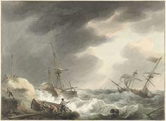Schipbreuk van twee schepen, waarvan één onder Amerikaanse vlag, op een duinenkust, Martinus Schouman, 1780 - 1848