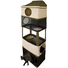 Ware Cat Tower Hideout Version. Great solution for providing vertical space for cats who live in small spaces or whose owners have to move often. Can simply be hung over a door and collapses into a rectangle just a few inches thick, making it easy to move and to store. We have one and we love it!