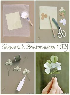 shamrock boutonniere DIY  Like the DIY format and not necessarily the shamrock design