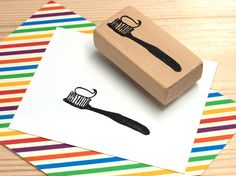Tooth brush Rubber Stamp hand carved by MtAurora on Etsy, $6.00