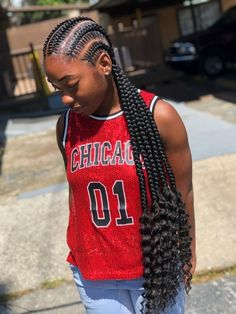 Feed In Braids Ponytail, Feed In Braids Hairstyles, Braids Hairstyles Pictures, Black Girl Braided Hairstyles, Braids With Curls, Braided Ponytail Hairstyles, Black Girl Braids, Baddie Hairstyles, Braids For Black Hair