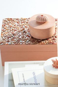 Shell toppers turn simple boxes into treasure chests. Urchins and small conch shells are perfect for knobs. Just glue them to boxes you've given a couple of coats of paint. The mosaic-topped boxes, meanwhile, shimmer with shards of abalone. #marthastewart #crafts #diyideas #easycrafts #tutorials #hobby