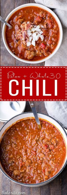Paleo - This Paleo Chili is a bean-free, take on my award winning best chili recipe! It's a hearty, flavorful chili made with ground beef, sausage, bacon and a wonderful blend of spices. - It's The Best Selling Book For Getting Started With Paleo Best Chili Recipe, Recipe 30, Whole 30 Chili Recipe, Low Carb Chili Recipe With Beans, Chili Soup Recipe Beef, Recipe Ideas, Chili Recipe With Italian Sausage, Chili Recipe Gluten Free, Ketogenic Chili Recipe