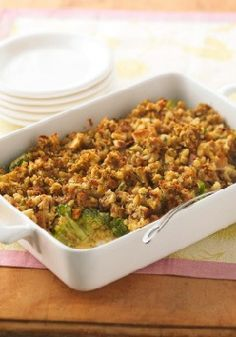 Cheesy Broccoli Casserole – This cheesy, saucy, stuffing-topped broccoli casserole makes a great side dish for — well, just about anything.
