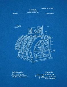 Cash register patent drawing blueprints as art pinterest cash register patent print art poster blueprint 24 x malvernweather Image collections