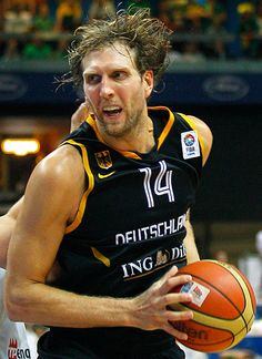 Dirk Nowitzki when he played for Germany. Now contracted to Dallas in the USA.