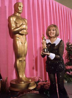 "the60sbazaar: ""Barbra Streisand with her Oscar for Funny Girl """