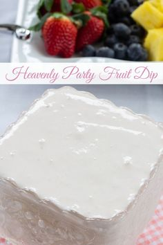 Heavenly Party Fruit Dip combines just 3 ingredients Greek yogurt cream cheese and marshmallow cream to make this tasty dip that is perfect for fruit. Gourmet Recipes, Sweet Recipes, Dessert Recipes, Cooking Recipes, Cooking Tips, Brunch Recipes, Fruit Fruit, Fruit Cakes, Fruit Dips