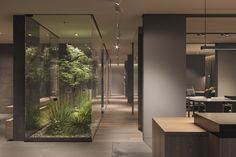 Cosy minimalist interior with indoor green spaces. Featuring warm neutral decor, environmentally friendly natural materials and indoor terrarium rooms. Indoor Outdoor Living, Indoor Garden, Cosy Apartment, Modern Home Offices, Minimalist Interior, Modern House Design, Natural Materials, Future House, Architecture Design