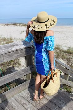 Lilly Pulitzer off the shoulder dress and straw bag  and straw hat  Resort wear picks via www.thegramercygirl.com  http://www.thegramercygirl.com/2017/01/fashion-resort-necessities.html
