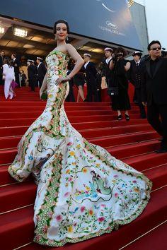Fan Bingbing in Christopher Bu. Celebrity Fashion at Cannes Film Festival 2012