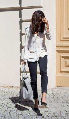 pyjama blouse with skinny jeans