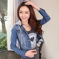 casaco longo das mulheres calça jeans de manga – USD $ 26.99