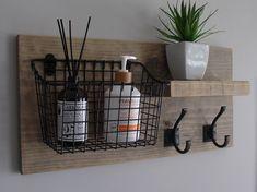 Rustic Bathroom Shelf with Storage Basket Floating Shelf and Towel Hooks - Modern Bathroom Wall Storage, Rustic Bathroom Shelves, Bathroom Baskets, Rustic Bathrooms, Bathroom Towels, Bathroom Hooks, Bathroom Kids, White Bathroom, Bathroom Interior