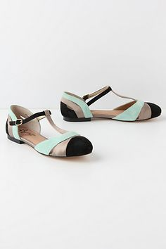 Color Blocked  Ilk T-Straps #anthropologie