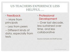 Teachers in the US are more likely to experience less helpful feedback and less helpful professional development.