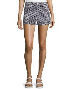 Diane von Furstenberg Tiffany Clean Printed Silk Shorts, Floral Lace Simple Black, Women's, Size: 6, Floral Lac