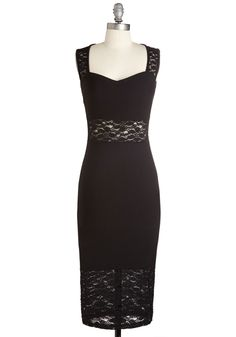 Ever Intriguing Dress - Black, Solid, Crochet, Lace, Cocktail, Girls Night Out, LBD, Sheath, Sleeveless, Fall, Winter, Knit, Lace, Long