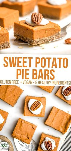 These Sweet Potato Pie Bars are GlutenFree Vegan and made with only 9 healthy ingredients Perfectly spiced Refined SugarFree and OilFree. Desserts Végétaliens, Desserts Sains, Vegan Sweets, Healthy Dessert Recipes, Healthy Desserts, Healthy Bars, Easter Desserts, Sugar Free Vegan Desserts, Healthy Vegan Snacks