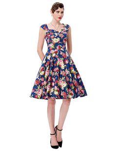 50s Vintage Style Floral Addiction Dress
