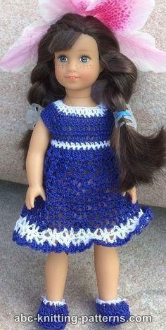 Free crochet pattern for the American Girl MINI Doll Bluebonnet Sundress by ABC Knitting Patterns.