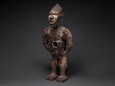 Central African power figures are among the ubiquitous genres identified with African art. Conceived to house specific mystical forces, they were collaborative creations of Kongo sculptors and ritual specialists. This example belongs to the most ambitious class of that tradition, attributed to the atelier of a master active along the coast of Congo and Angola at the end of the nineteenth century and identified with Mangaaka, the preeminent force of jurisprudence. That power was represented a...