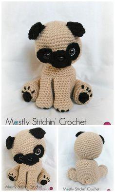 Amigurumi Pug Dog Free Crochet Patterns – Free Amigurumi Patterns Crochet Amigurumi Free Patterns, Free Crochet, Eye Details, Hello Dear, Dog Pattern, Amigurumi Toys, Hobby, Pugs, Teddy Bear