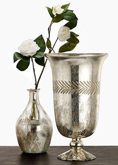 Vintage Look Mercury Glass Bottle and Urn