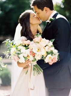 Bride and Groom - Romantic Blush Wedding Ideas - Photography: Ali Harper Floral Wedding, Wedding Colors, Wedding Flowers, Wedding Paper, Gold Wedding, Bridesmaid Bouquet, Wedding Bouquets, Blush Bouquet, Once Wed