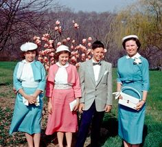 A group of relatives pose for a photo before going to church on Easter Sunday, 1957. From stevel504, East Peoria, Illinois.