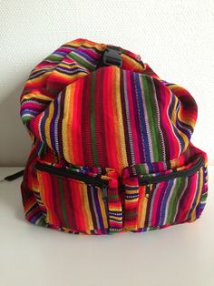 Handmade backpack from Guatemala with the colorful textiles!