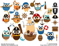 Pirate owl clip art for Personal and Commercial use - INSTANT DOWNLOAD on Etsy, $2.00
