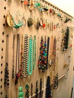 Organize jewelry on a bulletin board :: OrganizingMadeFun.com