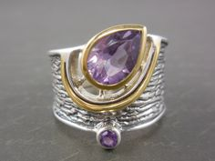 Amethyst Two-Tone Vermeil & Sterling Silver Ring - Size 9.5