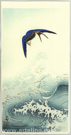 early 20th cntury - Shōson, Ohara - Swallow over the Ocean Wave