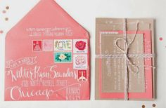 Coral and beige invitation cards