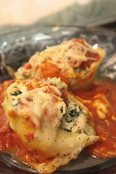 Weight Watchers Stuffed Shells (use smooth pasta sauce. I'll replace ricotta with chevre for my GP, and will just dust mine with cheese, not cover it.)