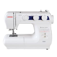 Janome 2222  The Janome 2222 is a quality entry level model offered at a fantastic price! This mechanical machine features 22 built-in stitches and a one-step buttonhole. Dial pattern selection and stitch width and length adjustment ensures ease of use. Great features like a free arm and drop feed make it versatile for all types of sewing. Lightweight and easy to use, this is the perfect machine for a beginner and the price is just right!