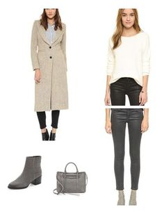 Grey is a key neutral and not one to be overlooked. A grey hued pant and top creates a chic monotone look and also complements white and tan (as seen in this look).