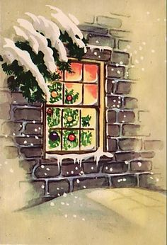 Through the window at Christmas. Old Time Christmas, Christmas Canvas, Old Fashioned Christmas, Christmas Past, Christmas Greeting Cards, Christmas Windows, Christmas Greetings, Holiday Cards, Christmas Crafts