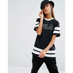 Fila Oversized Boyfriend T-Shirt With Tape Stripe And Logo Print (3,280 INR) ❤ liked on Polyvore featuring tops, t-shirts, black, oversized t shirt, oversized tops, striped tee, tall tops and tall t shirts