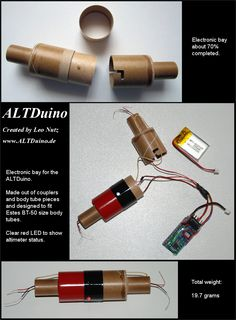 ALTDuino - A homemade dual deploy altimeter primarily designed to be used for model rockets Water Rocket Designs, Ship In Bottle, Diy Rocket, Wow Video, Rocket Engine, Arduino Projects, Mechanical Design, Train Layouts, Cool Tech