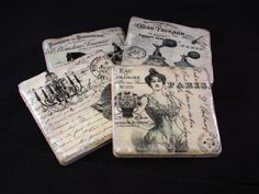 Vintage Paris Drink Coasters Table Decor Ceramic by WillowWell, $25.00 Coaster Crafts, I Love Paris, Vintage Paris, Drink Coasters, Bridal Shower, Christmas Gifts, Table Decorations, Personalized Items, Fleur De Lis
