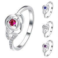 Wish | 925 Sterling Silver Crystal Flower Finger Ring Women Fashion Wedding Jewerly