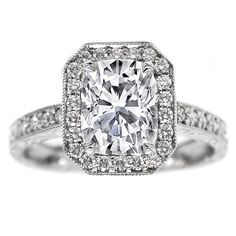 Engagement Ring - Cushion Diamond Halo Engagement Ring Vintage