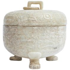 Early 20th Century Chinese White Jade Carved Tripod Covered Box | From a unique collection of antique and modern boxes at https://www.1stdibs.com/furniture/decorative-objects/boxes/