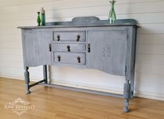 Antique restored sideboard. Layered dry brushing technique with chalk paint. Furniture DIY furniture redo www.rawrevivals.com.au