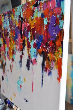 Falling Rainbow 2 Original modern abstract by AbstractArtM on Etsy