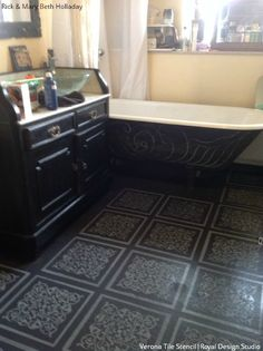 Use Royal Design Studio tile stencils for a stenciled floor design