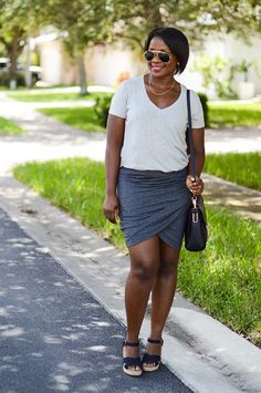 Styling a wrap skirt for a casual look.